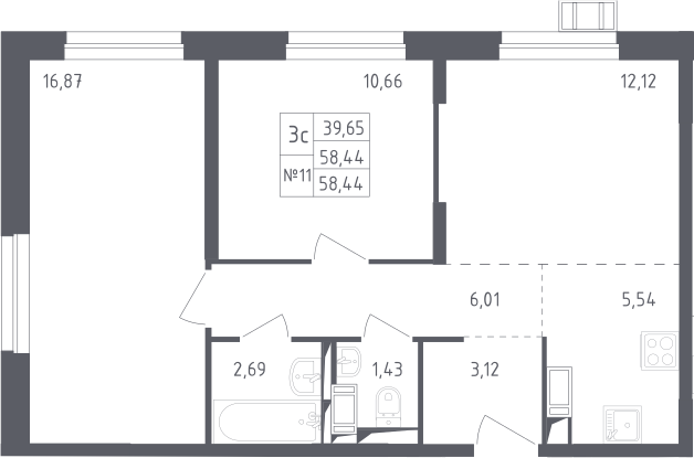 3Е-комнатная квартира, 58.44 м², 12 этаж – Планировка