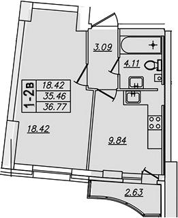1-комнатная, 36.77 м²– 2