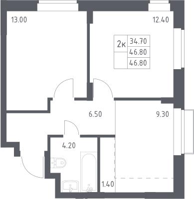 2-к.кв, 46.8 м²