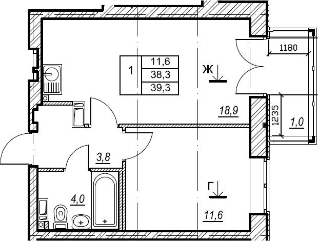 1-к.кв, 39.3 м², 8 этаж