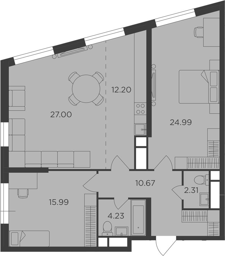 3-к.кв (евро), 97.39 м²