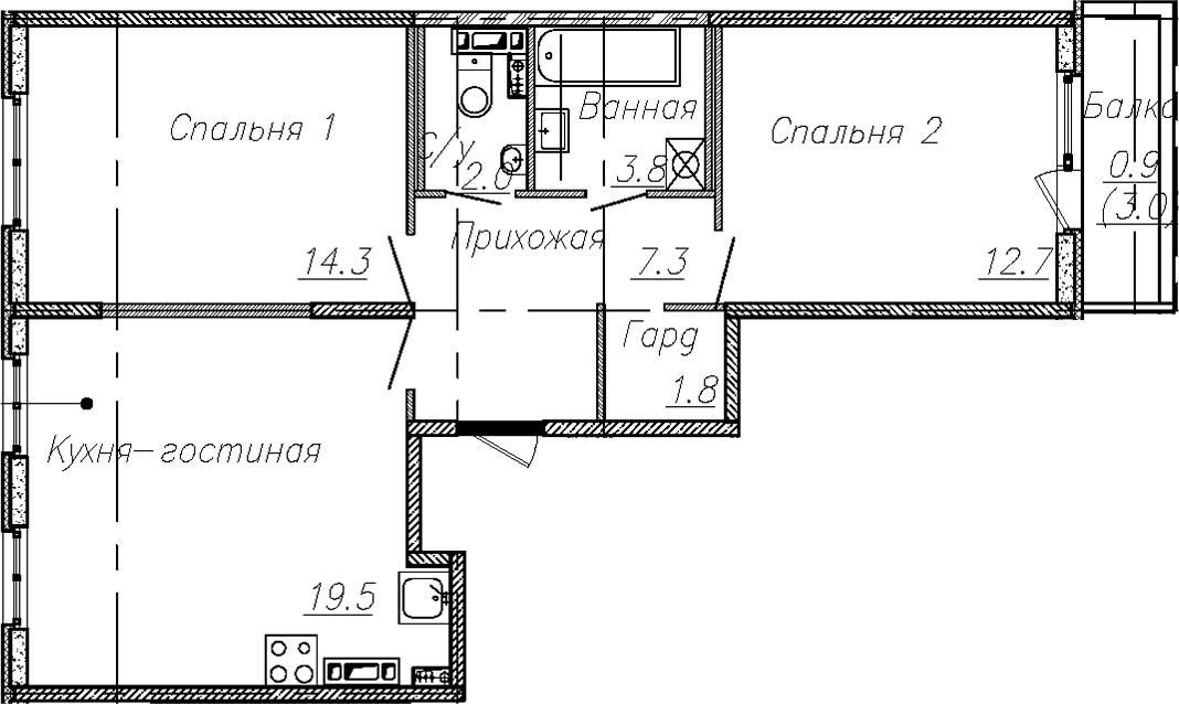 3Е-комнатная квартира, 61.4 м², 3 этаж – Планировка