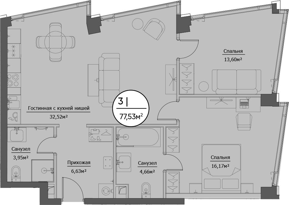 3Е-комнатная, 77.53 м²– 2