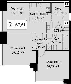 3Е-комнатная, 67.61 м²– 2