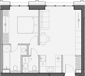 Свободная планировка, 45.8 м²– 2