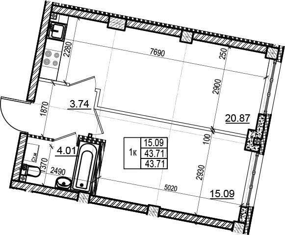 2Е-комнатная, 43.71 м²– 2