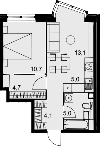 2Е-к.кв, 42.6 м², 2 этаж