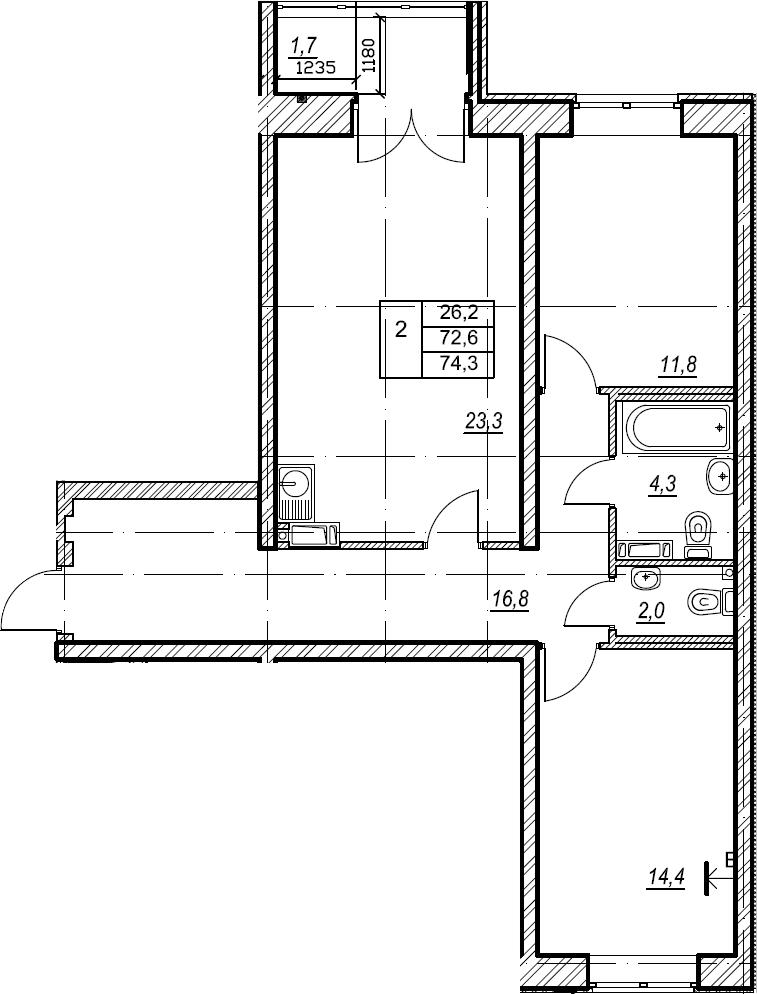 2-комнатная, 74.3 м²– 2