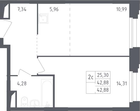 2Е-комнатная, 42.88 м²– 2