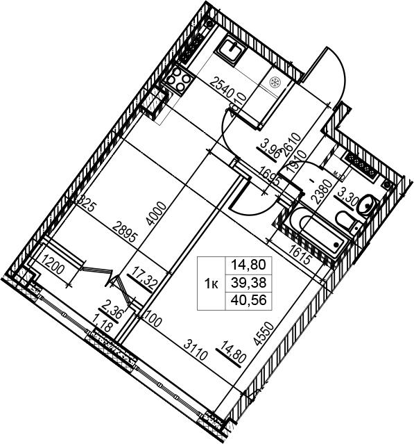 2Е-комнатная квартира, 40.56 м², 5 этаж – Планировка