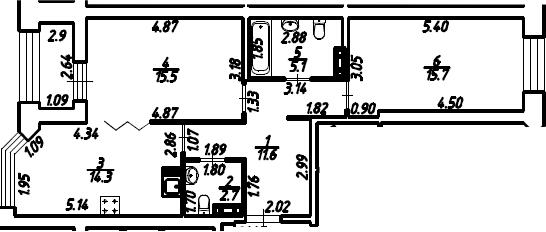 2-к.кв, 66.35 м², 7 этаж