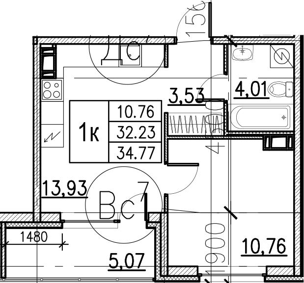 2Е-комнатная, 34.77 м²– 2