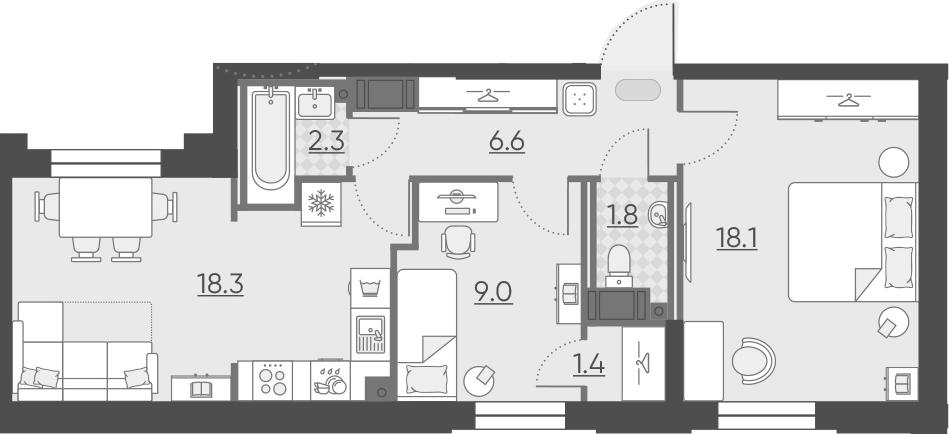 3Е-к.кв, 57.5 м², от 3 этажа
