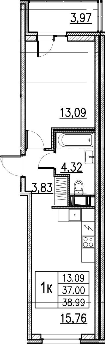 2Е-комнатная, 38.99 м²– 2