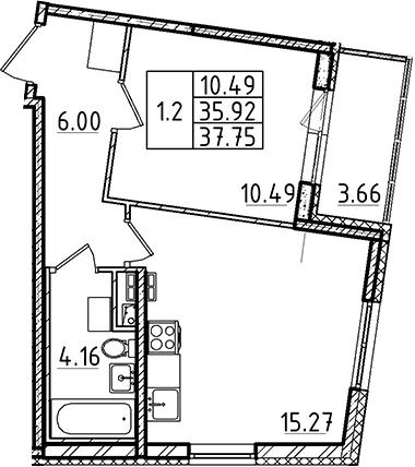2Е-комнатная, 37.75 м²– 2