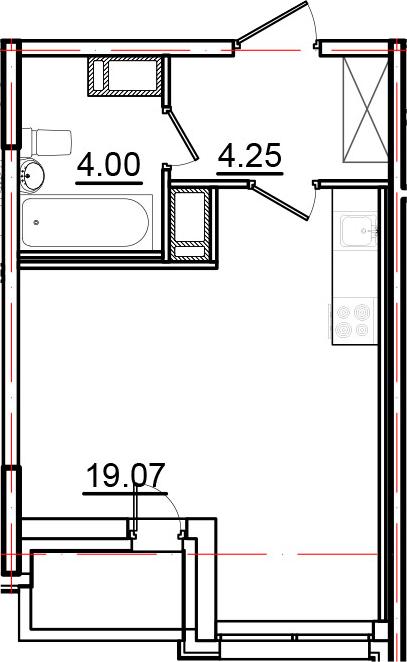 Студия, 28.29 м², от 8 этажа
