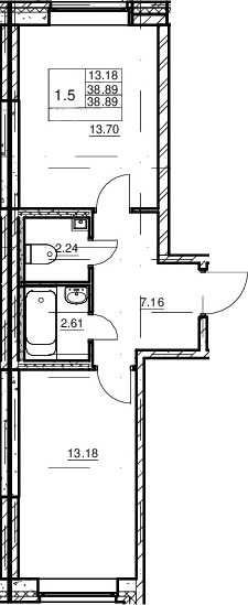 1-к.кв, 38.89 м²