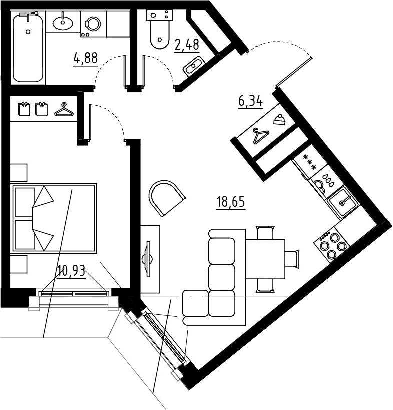2Е-комнатная, 43.28 м²– 2