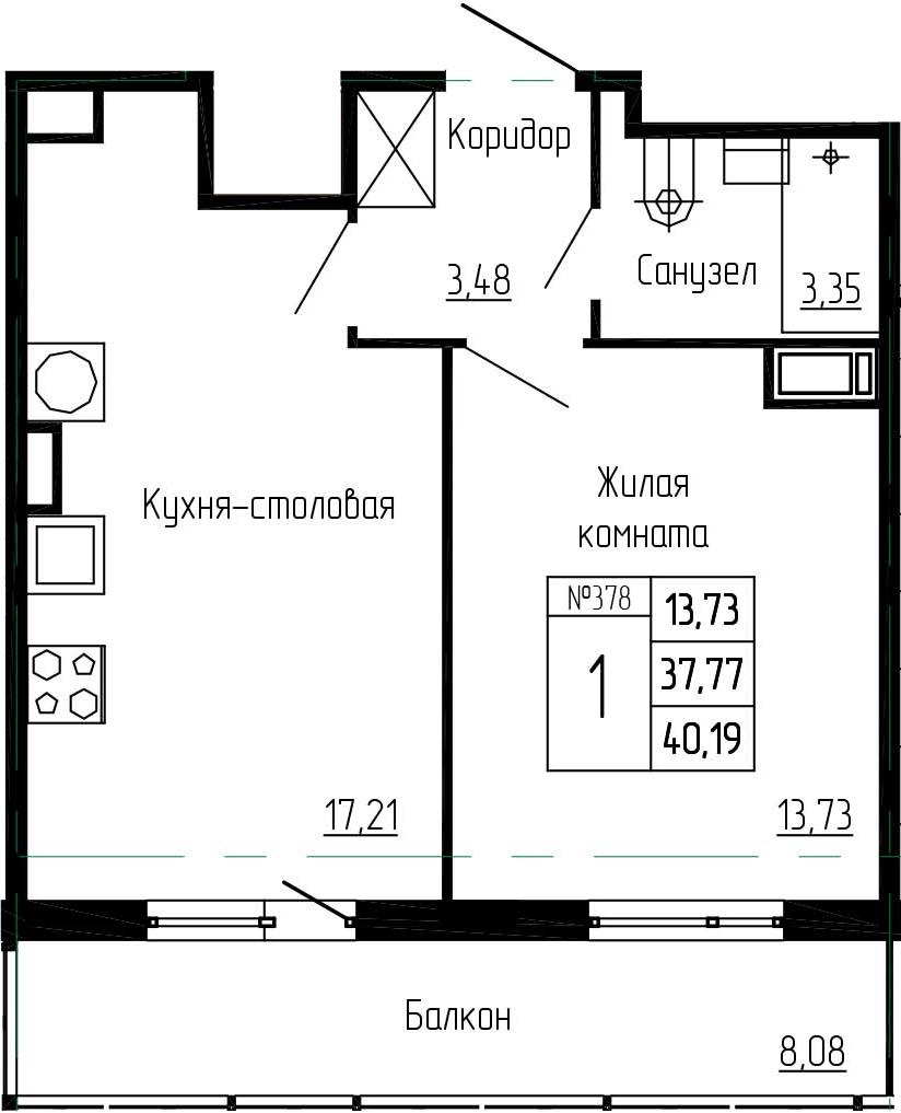 2-к.кв (евро), 45.85 м²