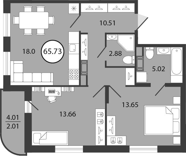3Е-к.кв, 65.73 м², 2 этаж