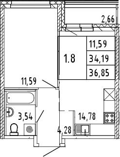 2Е-комнатная квартира, 35.52 м², 1 этаж – Планировка