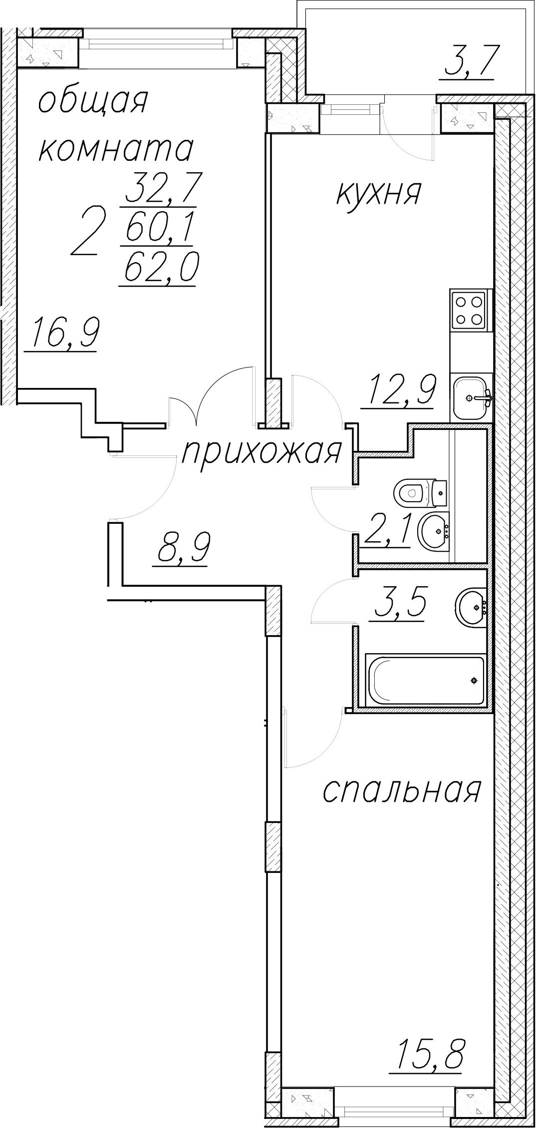 2-к.кв, 63.9 м²