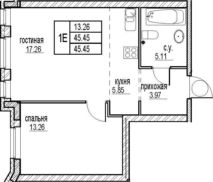 2Е-комнатная, 45.45 м²– 2