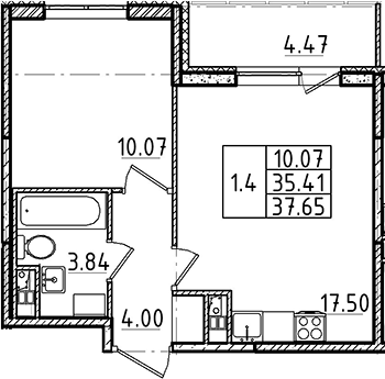 2Е-комнатная, 35.41 м²– 2