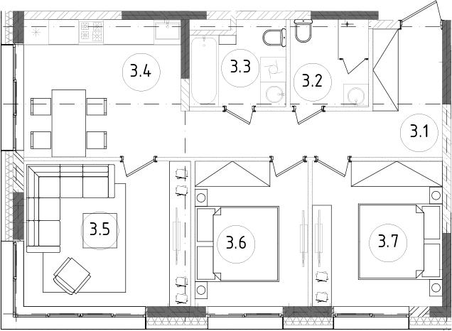 3-к.кв, 64.5 м², 2 этаж
