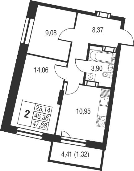 2-комнатная, 47.68 м²– 2