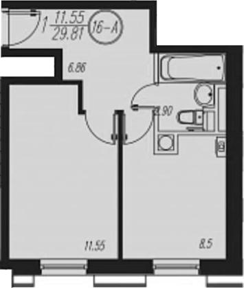 1-комнатная, 29.81 м²– 2