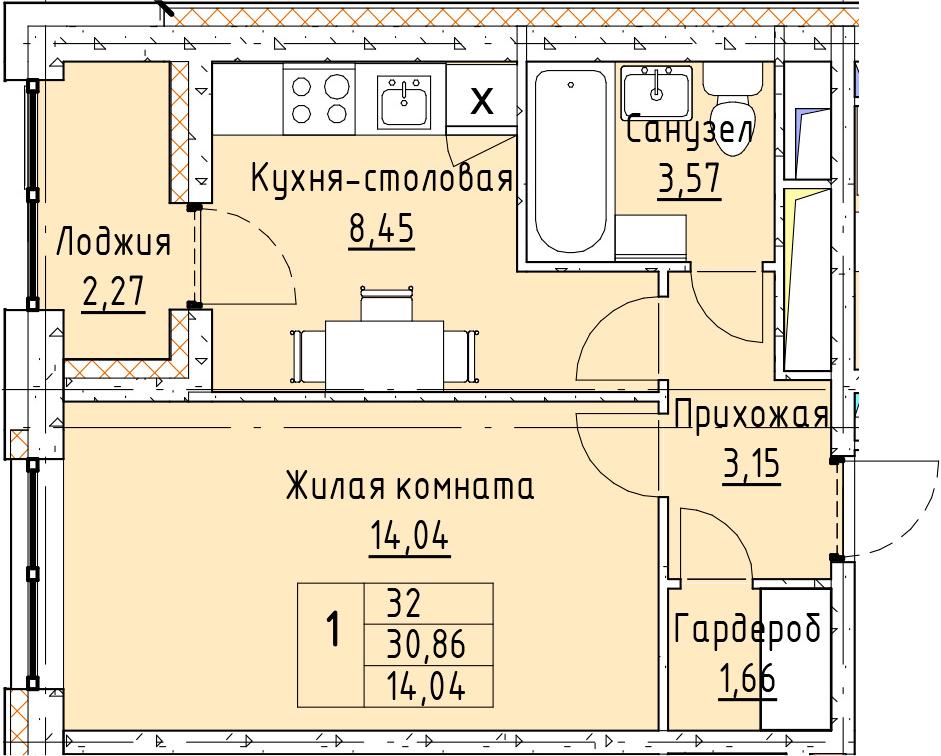 1-к.кв, 31.98 м²