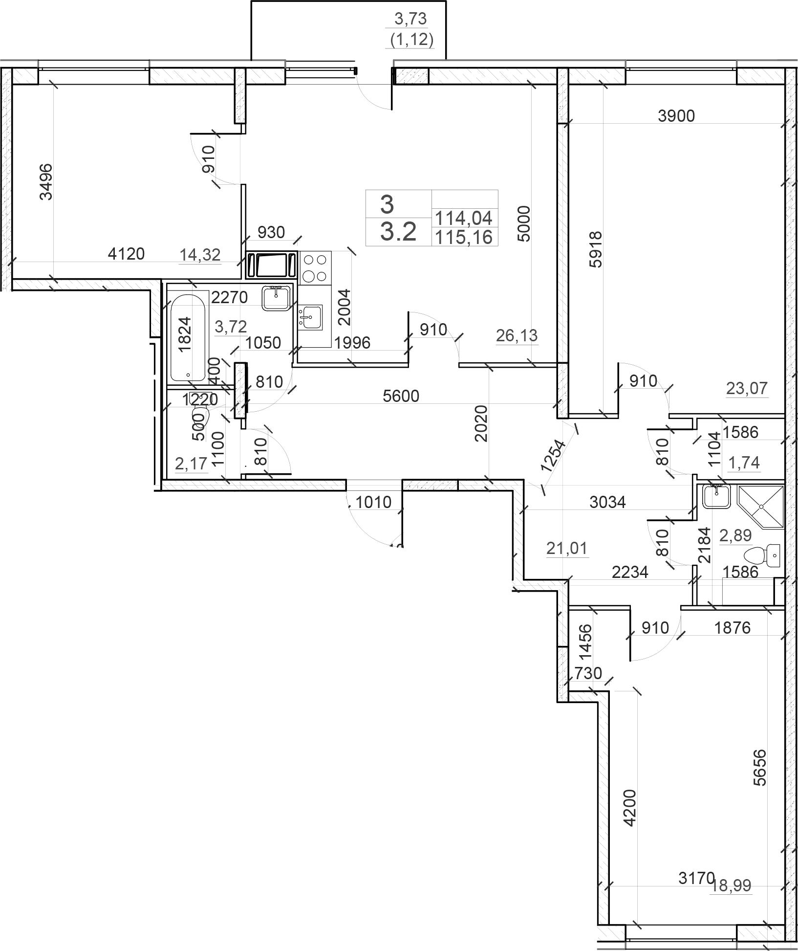 4Е-комнатная, 115.16 м²– 2