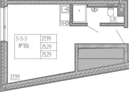 Студия, 25.29 м², 15 этаж – Планировка