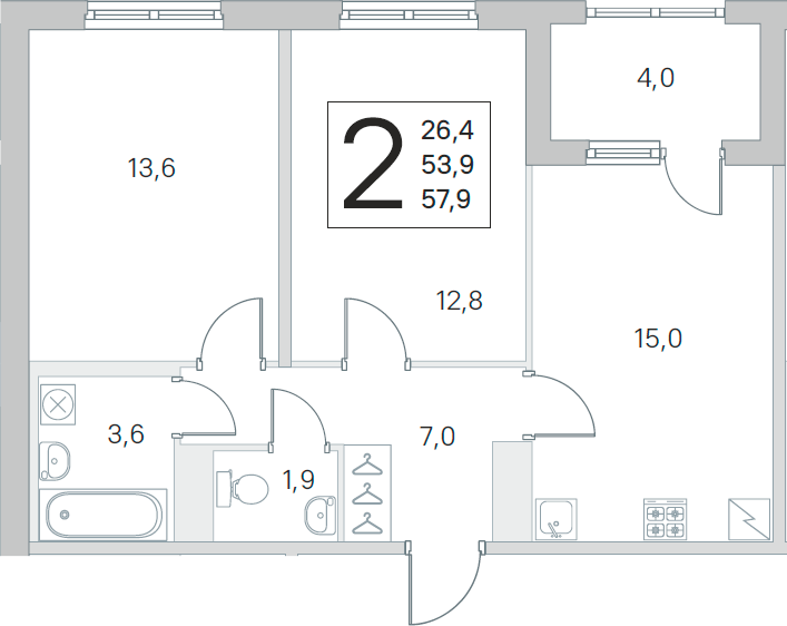 3Е-к.кв, 53.9 м², 2 этаж