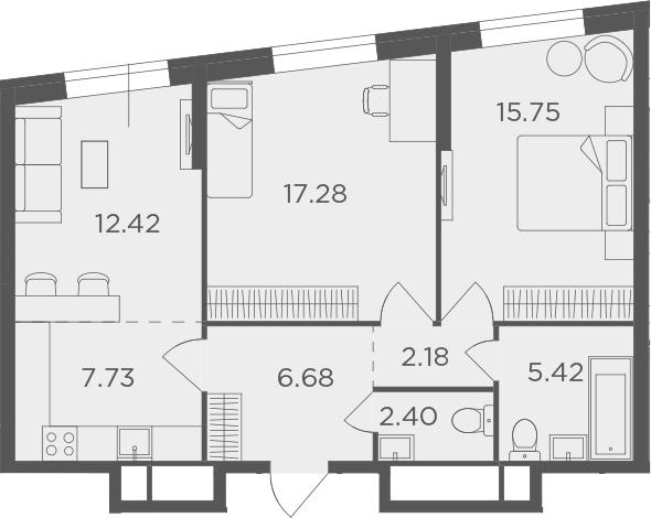 3Е-к.кв, 69.86 м², от 4 этажа