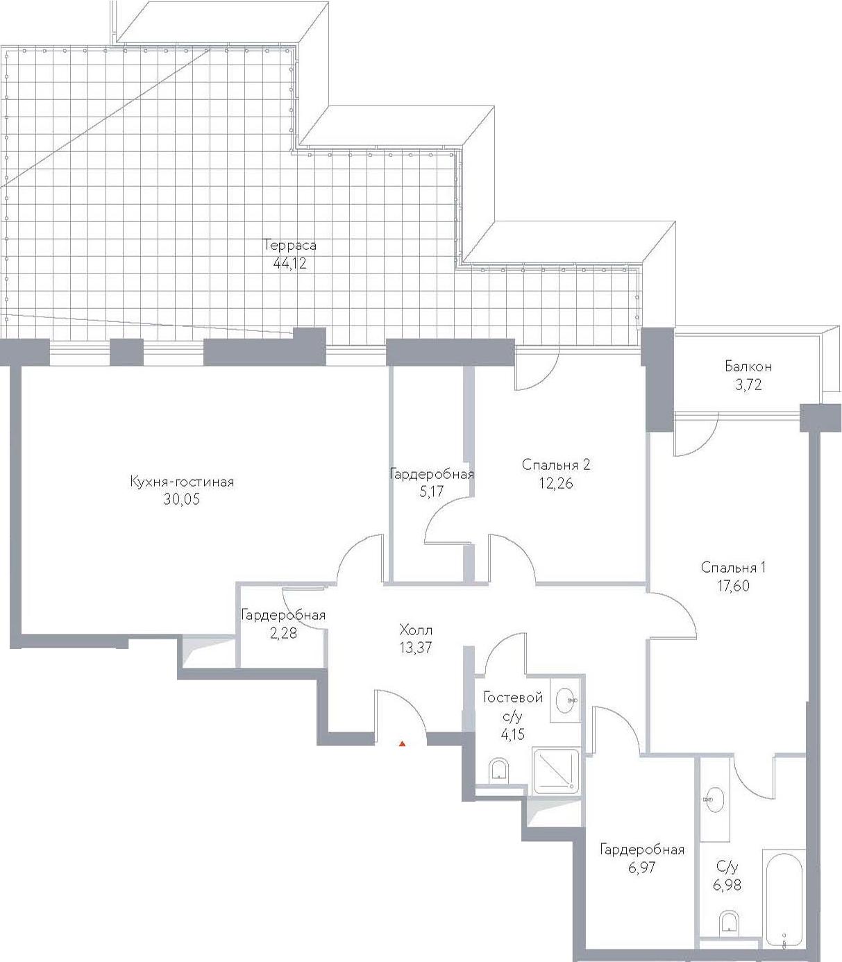 3Е-к.кв, 146.67 м², 14 этаж