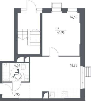 1-к.кв, 41.96 м²