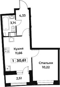 1-к.кв, 30.61 м², от 9 этажа