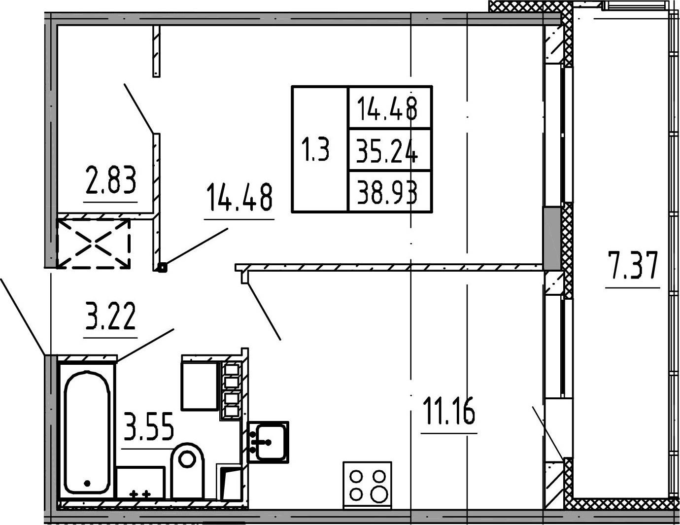1-комнатная, 35.33 м²– 2