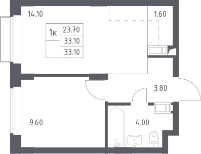 2Е-к.кв, 33.1 м², 11 этаж