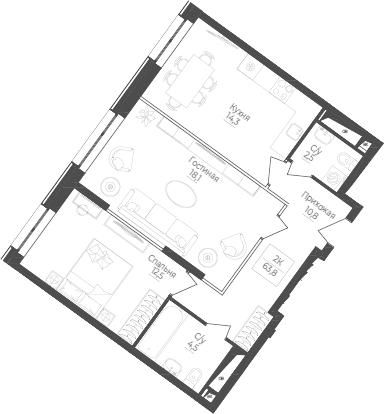 2-к.кв, 63.8 м²