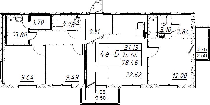 4Е-комнатная, 78.46 м²– 2