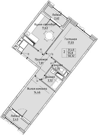 2-к.кв, 58.32 м²