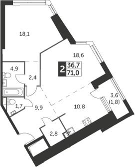 2-к.кв, 71 м², 7 этаж