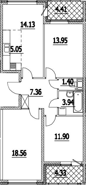 4Е-к.кв, 80.67 м², 15 этаж