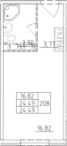 Студия, 24.49 м², от 16 этажа