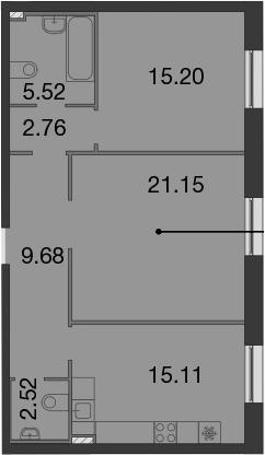 3-к.кв (евро), 71.94 м²