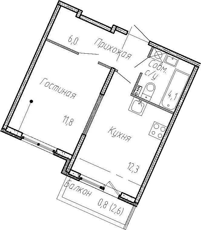 1-к.кв, 36.8 м²