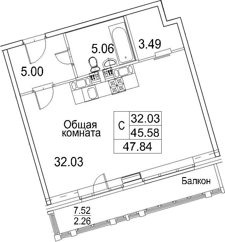 Студия, 53.11 м²